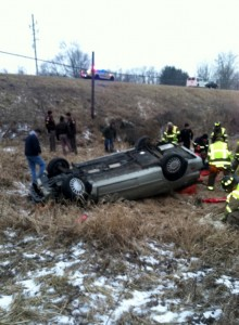 A North Manchester teen was seriously hurt in this single vehicle crash north of Pierceton on Saturday. (Photos provided)