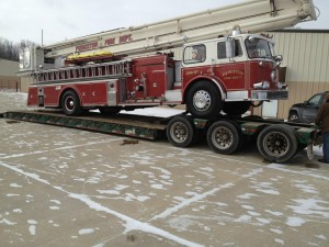 Pierceton Fire Department's 1969 Snorkel fire truck was taken to Palatine, Ill., on Wednesday to be featured in a memorial service to three fallen firefighters.