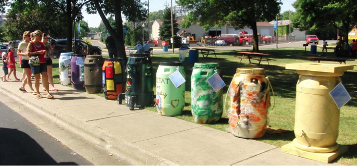 Rain barrels decorated for Habitat for Humanity in 2012 were displayed in downtown Warsaw.