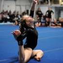 Wawasee's Emily Allen concludes her floor routine.