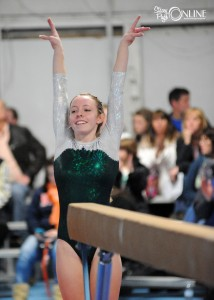 Wawasee's Emily Allen hopes the judges tabulate favorably after her beam routine Saturday.