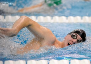 Caige Wahlgren of Wawasee works the 200 freestyle at the Concord Boys Swimming Sectional.