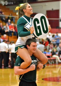 Wawasee cheerleaders Breanna Weisser and Derrick Sorensen try to rally support at Goshen.