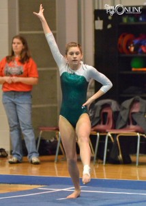 Wawasee's Emma Hoyle performs on the floor.
