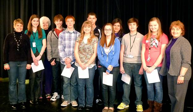 From left are Lyn Crighton, Tippecanoe Watershed Foundation; Grace Garrett; Mrs. Chris Foster, teacher at WCHS; Drew Carson; Kole Smith; Kendra Housel; Tyler Packard; Zoe Rogers; Melanie Cervantes; Luke Junker; Tabatha Ousley; and Darci Zolman, Kosciusko County Soil and Water Conservation District. (Photo provided)