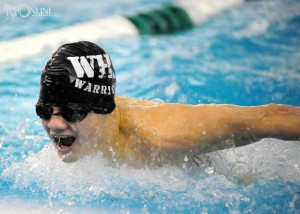 Senior Corey Kenworthy of Wawasee charges home in the butterfly.