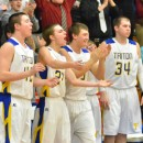 Triton's bench celebrates the newly minted win against Valley.