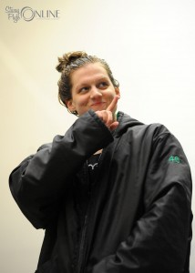 Northridge senior Brittney Walters lets her parents know who is number one after winning the 500 freestyle state title.