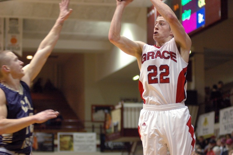 Grace College guard Elliot Smith lets fly with a jumper Friday night. Smith, who played at Northridge High School, had 18 points as the Lancers won in the NAIA National Championships to advance to the Elite Eight (Photo provided by Grace College Sports Information Department)