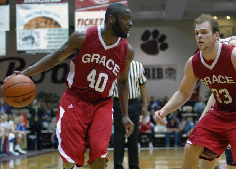 Grace College sophomore Karl Columbus looks for room to operate Saturday night. The former South Bend Riley standout had 18 points as the Lancers won to advance to the Final Four of the NAIA National Championships (Photo provided by Grace College Sports Information Department)
