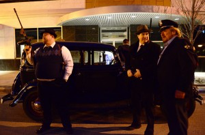 From left are Steve Long aka Baby Face Nelson, Jay Jacobs aka John Dillinger, and Michael Alspaugh who played the role of Warsaw Police Officer Judd Pittenger. The men were part of a historical re-enactment of Dillinger's 1934 heist against the Warsaw Police Department. (Photos by Stacey Page)