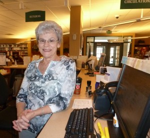 "Eleanor Hooker has been an active North Webster Public Library volunteer since 2004.  She helps in the circulation department and also serves as president of the Board of Trustees.  ""I've always enjoyed libraries, and I really enjoy interacting with the patrons,"" says Eleanor. (Photo provided)"