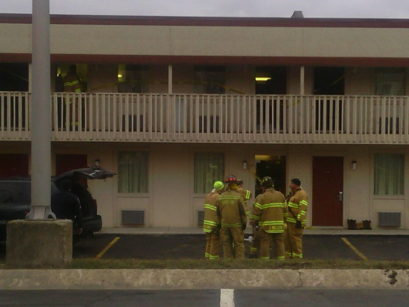 Fire officials have blocked off four rooms on the second floor of the Days Inn where a meth lab exploded this evening injuring two people. (Photo provided by Mystica Martin)