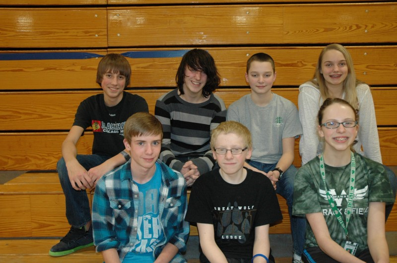 In front, from left, are Jarrod Peace, Josh Webber and Autumn Yoder. In the back row are Luke Tyler, Tristin Beery, Conner Erlenwein and Meghan Fretz.  (Photo by Tim Ashley)