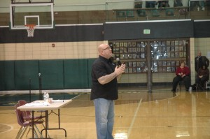 Youth motivational speaker Jeff Yalden spoke to the entire student body of Wawasee High School Thursday, March 31, in the main spectator gym. (Photo by Tim Ashley)
