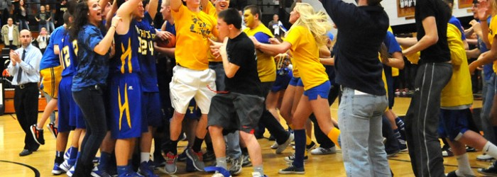 Triton's fan base mobs the court after the Trojans were handed the sectional title.