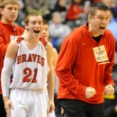 Borden head coach Doc Nash and Garrett Vick celebrate a key moment.