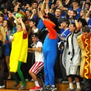 The Triton student body believes their Trojans will win during the Triton Boys Basketball Regional game against Fort Wayne Canterbury.