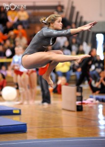 Wawasee's Kim Garber performed her floor routine at Friday night's Valparaiso Gymnastics Regional. (Photo by Mike Deak)