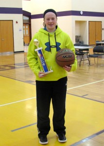 Milford eighth grader Hannah Haines won the Knights of Columbus free throw contest last weekend in Noblesville. (Photo Provided)