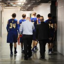 Triton return to their lockerroom after losing to Borden, 55-50.