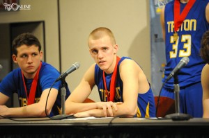 Clay Yeo answers questions at the state postgame press conference.