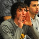 Former Triton player Zak Shively voices his opinion during the first half.