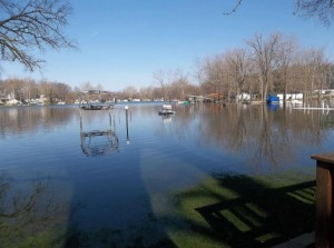 The Indiana Department of Natural Resources has issued an idle speed only order for the Barbee chain where waters have far surpassed the banks and continues to rise. (Photo provided)