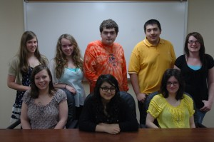 Three Wawasee High School Academic Super Bowl teams qualified for the state competition May 4 at Purdue. Students on the teams are, in front from left, Ashley Helfers, Stephanie Camargo and Katie Zartman. In the back row are Emma Donahoe, Maddison Hite, Brett Heinisch, Michael Hernandez and Kristi Streby. Not pictured is Brandon Fox. (Photo by Tim Ashley)