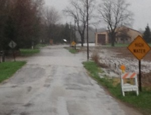 The area of CR 100 East at CR 75 North, south of Leesburg, will likely see even higher water by Friday as heavy rains continue overnight.