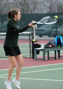 Wawasee's Sam Prins returns serve to Concord's Holly Angel Tuesday night. (Photos by Mike Deak)