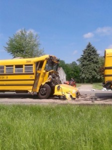 The driver of this Wawasee school bus is being flown to a Fort Wayne hospital following a crash involving multiple school buses near North Webster. (Photos by Deb Patterson)