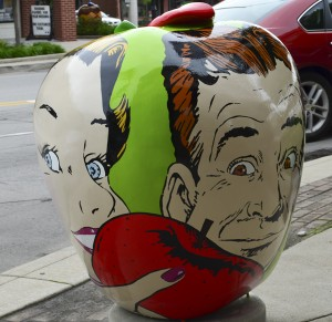 """This apple is featured in downtown Nappanee by the Apple Festival Committee. The artwork was done by Jeff Stillson and is titled, """"Plenty for Everyone"""".  (photo by Stillson Studio)"""