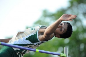 """JJ Gilmer was the high jump, clearing 6'4""""."""