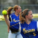 Triton's Jenae Kreft gets the ball back into the infield after a Kylee Rostochak double.