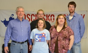 From left are Kosciusko County Democrat party committee members including newly elected chairman, John Bonitati; secretary Jeanne Scott; vice chair Lee Ann Brown; and Eric Smith, newly elected treasurer. In back is Art Brown, media and communications director.