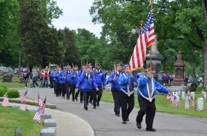 Members of Warsaw American Legion Post 49 and Warsaw Veterans of Foreign Wars Post 1126 took part in today's Memorial Day ceremony at Oakwood Cemetery.