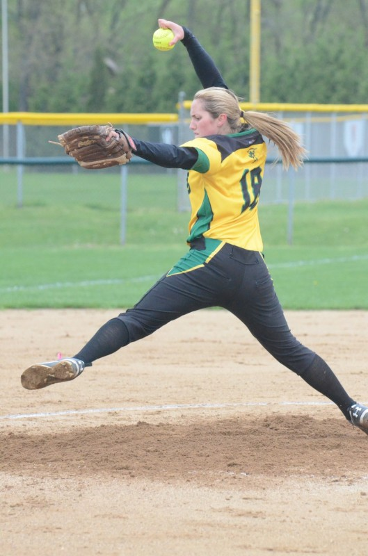 Haley Nixon prepares to let fly with a pitch Friday. The Northridge ace improved to 16-1 in the circle.