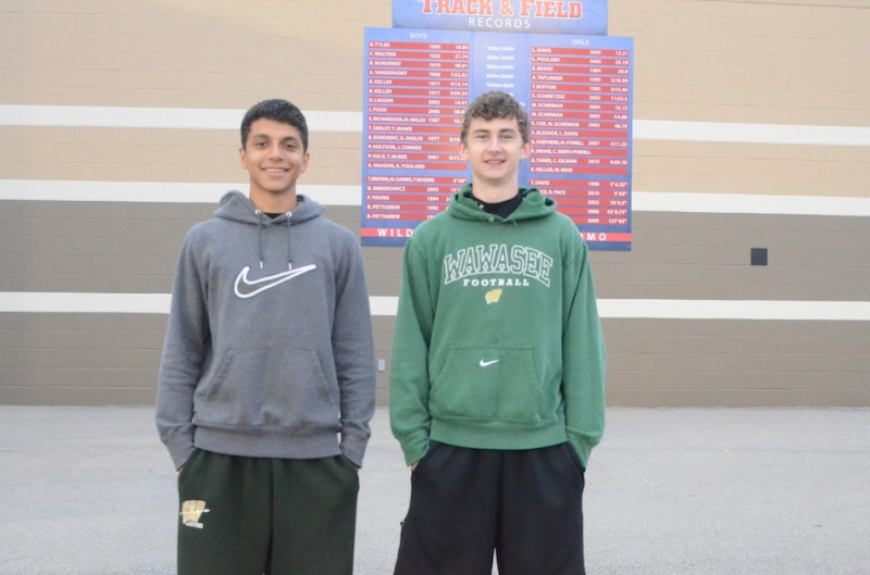 Wawasee sophomores JJ Gilmer (left) and Clayton Cook qualified for the State Finals with impressive regional performances in Kokomo Thursday night. Gilmer won the high jump competition and Cook placed second in the 110 hurdles (Photo by Scott Davidson)