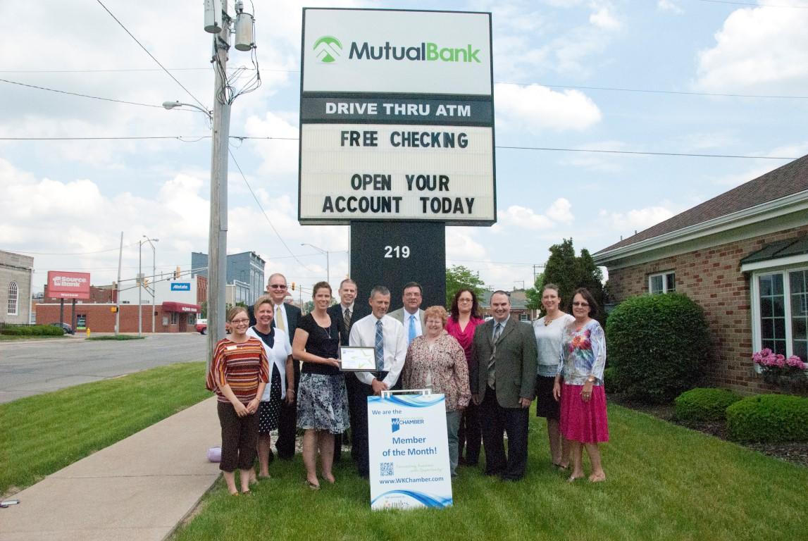 Pictured in the photo (left to right): Trenda Gamble, Manager MutualBank 15 North; Stephanie Salyer, MutualBank AVP Kosciusko & Elkhart County Area; Renea Salyer, Chamber Member Relations Coordinator; Bill Curl, MutualBank AVP Retail Lending; Joni Truex, Builders Association Kosciusko Fulton Counties and Chamber Ambassador; Robyn Palmer CTP, MutualBank AVP Client Relationship Manager, and Jan Orban, Bradley Group and Chamber Board Member. In the back row (left to right): Jim Tinkey, MutualBank VP Commercial Lending; Jim Ryan, MutualBank VP Commercial Lending; Vince Turner, MutualBank VP Regional Manager; Julie Eckel, MutualBank Cash Management Service Manager; and Lori Richcreek, MutualBank Finance Center Manager East Center. (photo provided)