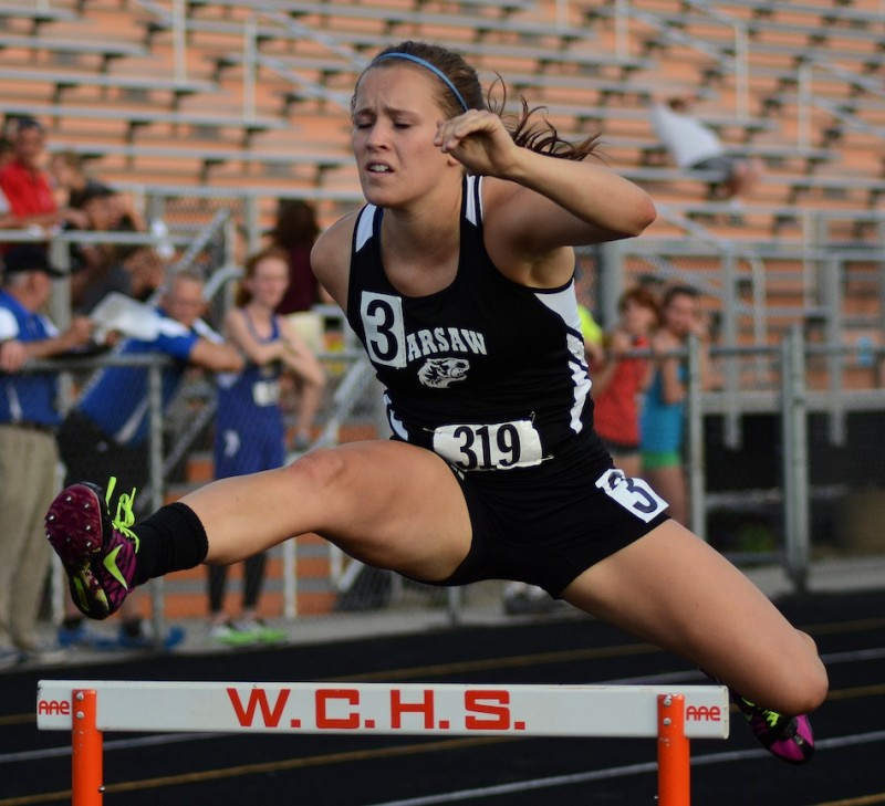 Jackie Ferguson placed third in the 300 hurdles for regional champion Warsaw Tuesday night (Photos by Jim Harris)