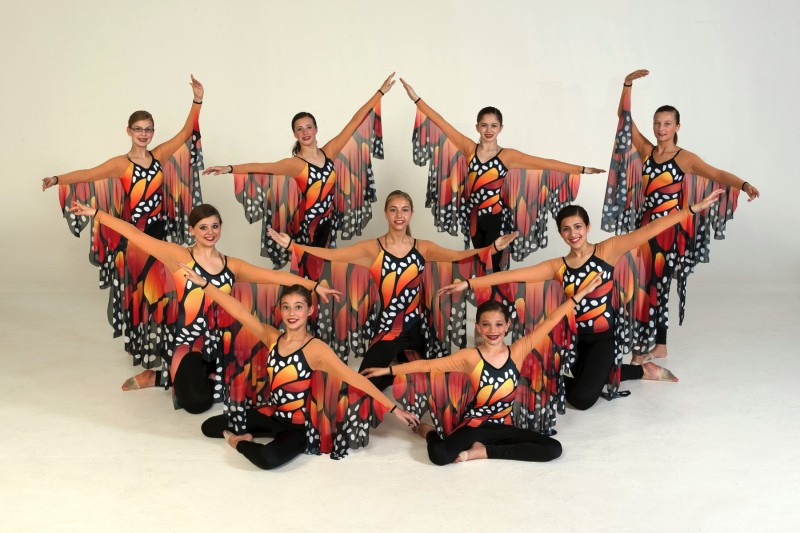 Pictured are dancers performing to Fly. In front, from left, are  MaKenna Leek and Mikayla Roller. In the second row are Claire Kois, Megan Love and Mackenzie Islas, Third row consists of Eliza Kuhn, Annie Petro, Brianna Pitts and Tiffany Moore.