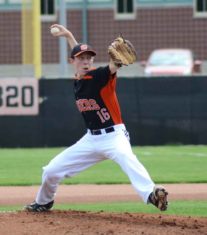 Sophomore pitcher Kevin Hawley has been strong this spring for the Tigers, who play Memorial in sectional action Saturday (File photo by Jim Harris)