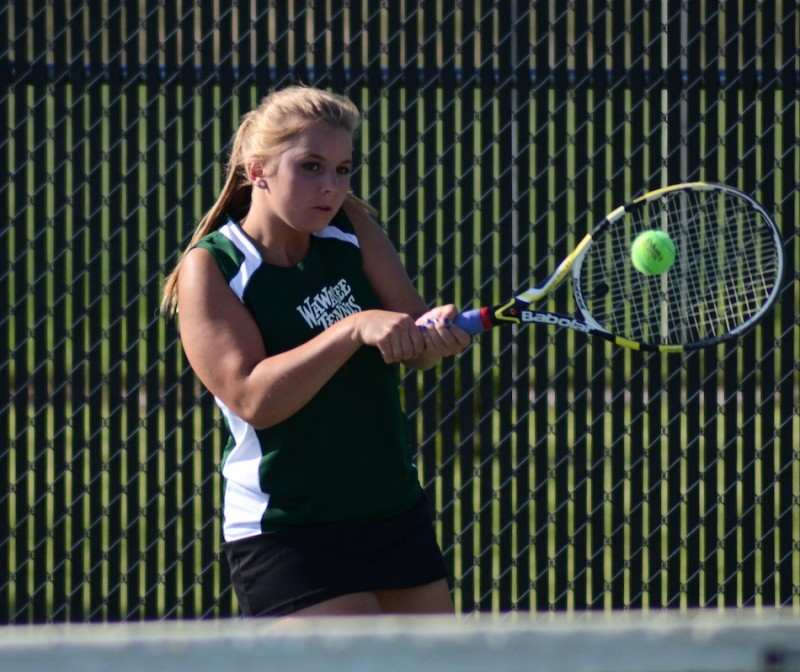 Esther Hermann won in straight sets at No. 1 singles for Wawasee Thursday night.