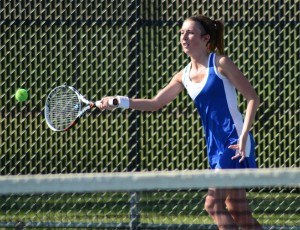 Whitko senior Laura Hippensteel returns a shot during No. 1 singles play in the Warsaw Sectional.