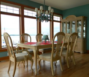Stop seven on the Homes on Parade features a dining room with a view of Lake Wawasee. The home is a new construction by T.L. Jackson Construction. (Photo by Sarah Wright)