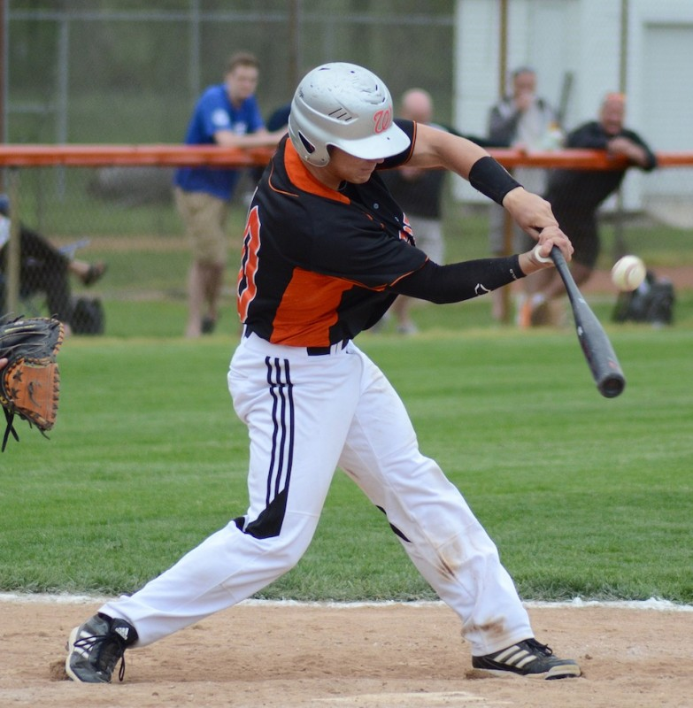 Jared Lemler takes a rip for the Tigers Monday night.
