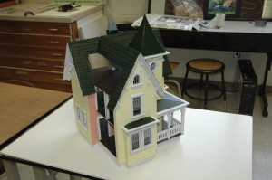 Dollhouses built by the art appreciation class at Wawasee High School will be displayed at the art show and then donated to less fortunate children. (Photo by Tim Ashley)