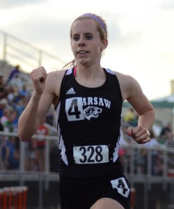Senior Sarah Ray scored big points in both the 3,200 and 1,600 for the Tigers.