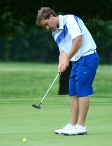 Ryan Rapp of Triton sends his putt toward the abyss during play at the Bob Turner Classic.